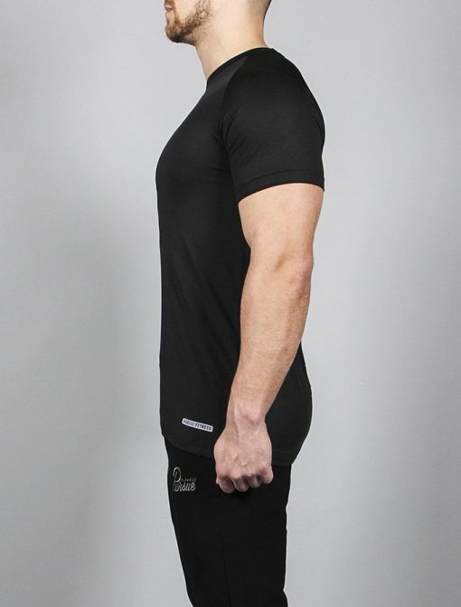 Fitness T-shirt BreathEasy Zwart - Pursue Fitness zijkant