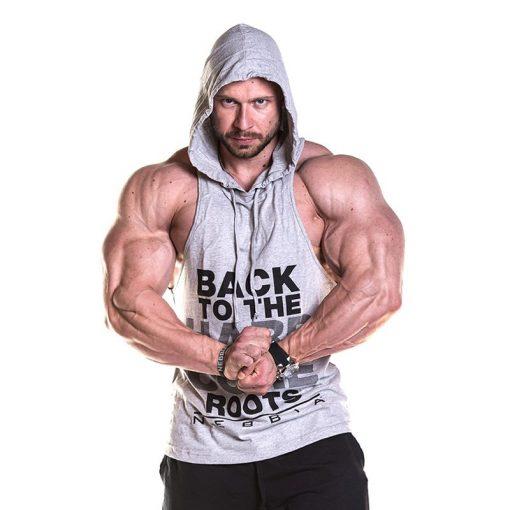 Fitness Singlet Hard Hoodie Grijs - Nebbia Singlet 374 voorkant 2