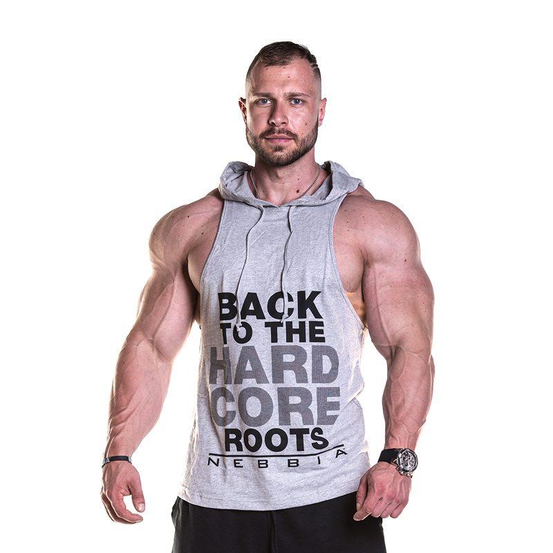 Fitness Singlet Hard Hoodie Grijs - Nebbia Singlet 374 voorkant