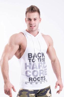Fitness Singlet Hard Hoodie Wit - Nebbia Singlet 374 voorkant