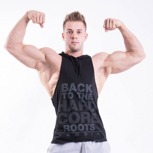 Fitness Singlet Hard Hoodie Zwart - Nebbia Singlet 374 voorkant