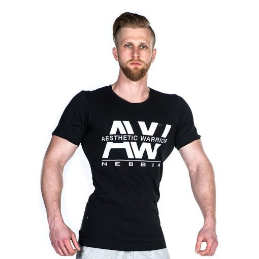 Nebbia V-neck T-Shirt 127 – Bodybuilding T-Shirt Zwart-1