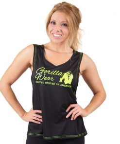 dames-tank-top-zwart-groen-gorilla-wear-odessa-cross-back-groen-1