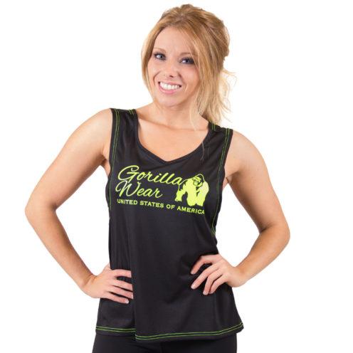 dames-tank-top-zwart-groen-gorilla-wear-odessa-cross-back-groen-1