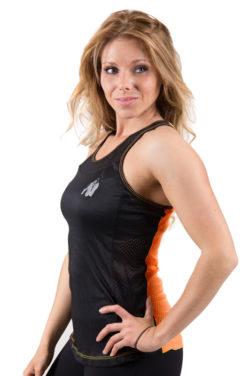 dames-tank-top-zwart-oranje-gorilla-wear-marianna-voor-1