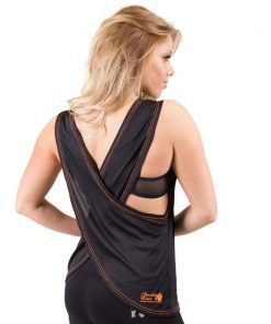 dames-tank-top-zwart-oranje-gorilla-wear-odessa-cross-back-achter-1