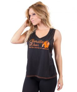 dames-tank-top-zwart-oranje-gorilla-wear-odessa-cross-back-voor-1