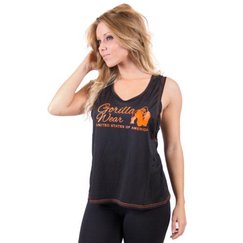dames-tank-top-zwart-oranje-gorilla-wear-odessa-cross-back-voor-1