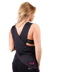 dames-tank-top-zwart-roze-gorilla-wear-odessa-cross-back-achterkant-1