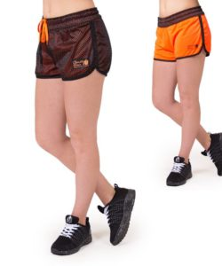 fitness-short-zwart-oranje-gorilla-wear-madison-reversible-beide