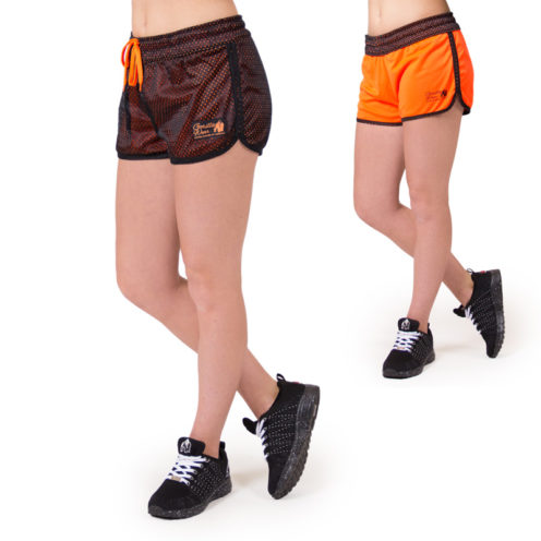 fitness-short-zwart-oranje-gorilla-wear-madison-reversible-beide