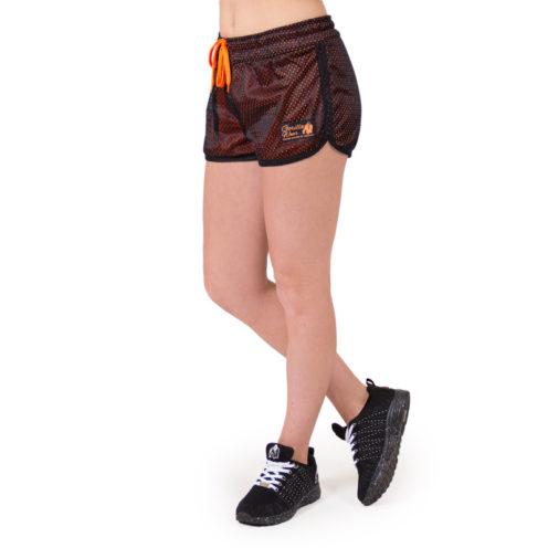 fitness-short-zwart-oranje-gorilla-wear-madison-reversible-voorkant-2