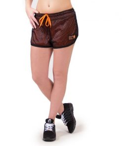 fitness-short-zwart-oranje-gorilla-wear-madison-reversible-voorkant-3