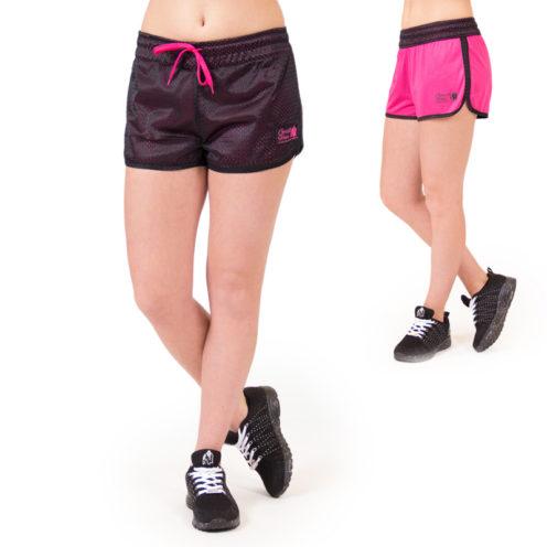 fitness-short-zwart-roze-gorilla-wear-madison-reversible-beide