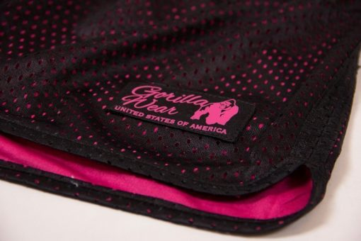fitness-short-zwart-roze-gorilla-wear-madison-reversible-detail-1