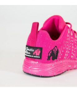 Fitness sportschoen Gorilla Wear Brooklyn Knitted Sneakers roze wit achterkant