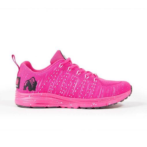 Fitness sportschoen Gorilla Wear Brooklyn Knitted Sneakers roze wit zijkant