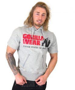Bodybuilding Short Sleeve Hoodie Grijs - Gorilla Wear Boston-1