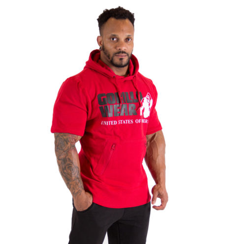 Bodybuilding Short Sleeve Hoodie Rood - Gorilla Wear Boston-1
