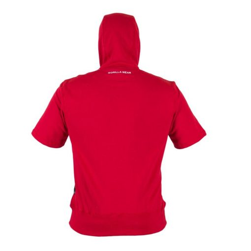 Bodybuilding Short Sleeve Hoodie Rood - Gorilla Wear Boston-2