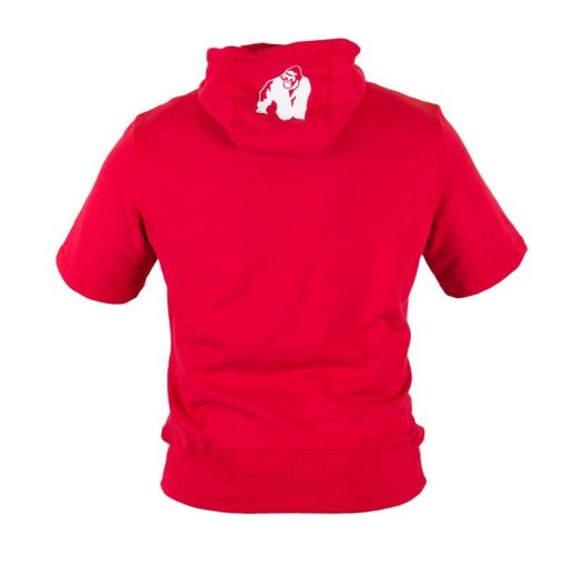 Bodybuilding Short Sleeve Hoodie Rood - Gorilla Wear Boston-3