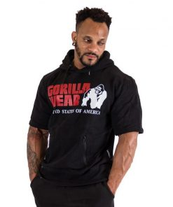 Bodybuilding Short Sleeve Hoodie Zwart - Gorilla Wear Boston-1
