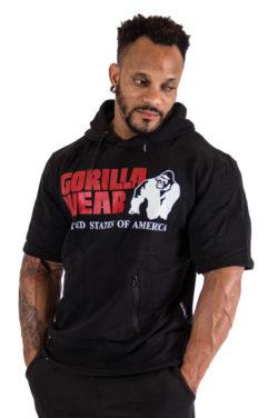Bodybuilding Short Sleeve Hoodie Zwart - Gorilla Wear Boston-1