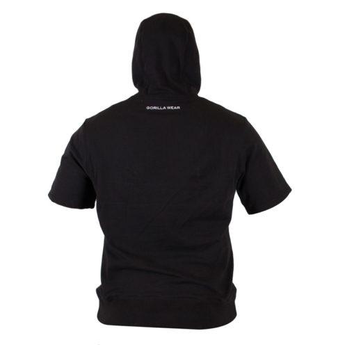 Bodybuilding Short Sleeve Hoodie Zwart - Gorilla Wear Boston-2