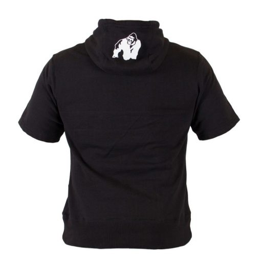 Bodybuilding Short Sleeve Hoodie Zwart - Gorilla Wear Boston-3