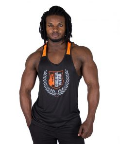 Fitness Tank Top Zwart Oranje - Gorilla Wear Lexington-1