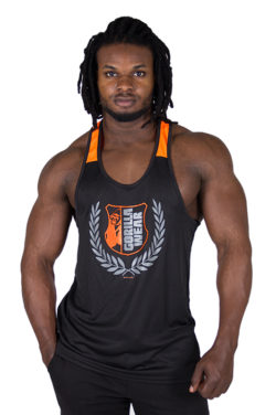 Fitness Tank Top Zwart Oranje - Gorilla Wear Lexington-1