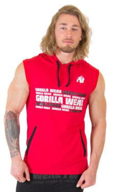Sleeveless Fitness Shirt met Hoodie Rood - Gorilla Wear Melbourne-1