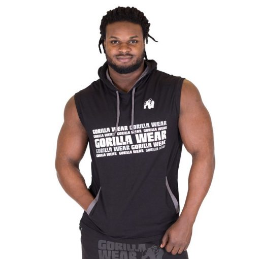 Sleeveless Fitness Shirt met Hoodie Zwart - Gorilla Wear Melbourne-1