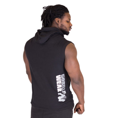 Sleeveless Fitness Shirt met Hoodie Zwart - Gorilla Wear Melbourne-2