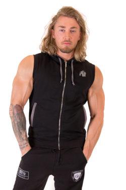 Sleeveless Hoodie met Rits Zwart - Gorilla Wear Springfield-1