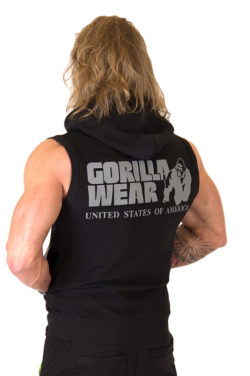 Sleeveless Hoodie met Rits Zwart - Gorilla Wear Springfield-2