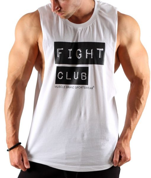 Tanktop Fight Club Wit - Muscle Brand-1