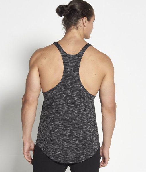 Fitness Stringer Zwart Wit Slub - Pursue Fitness achterkant