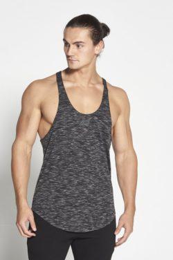 Fitness Stringer Zwart Wit Slub - Pursue Fitness voorkant