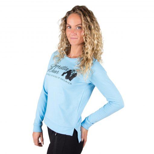Fitness Sweatshirt Riviera Blauw - Gorilla Wear voorkant