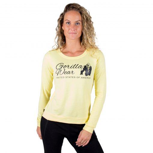 Fitness Sweatshirt Riviera Geel - Gorilla Wear voorkant