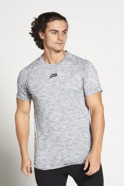 Fitness T-shirt Grijs Zwart Slub - Pursue Fitness voorkant