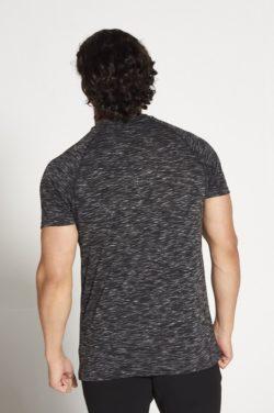 Fitness T-shirt Zwart Wit Slub - Pursue Fitness achterkant