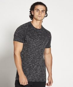 Fitness T-shirt Zwart Wit Slub - Pursue Fitness voorkant