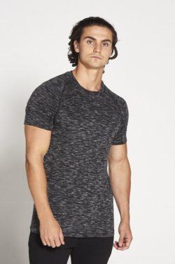 Fitness T-shirt Zwart Wit Slub - Pursue Fitness voorkant