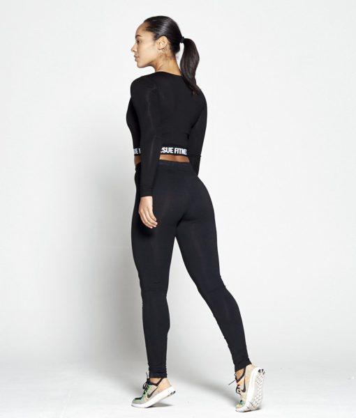 Joggingsbroek Dames Zwart Slim Stretch - Pursue Fitness achterkant