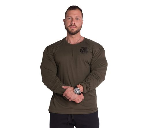 Bodybuilding Longsleeve Kaki Nebbia 341 voorkant