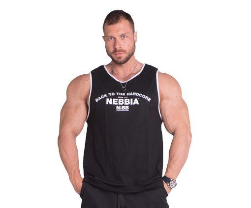 Bodybuilding Tank Top Zwart Nebbia 395 voorkant