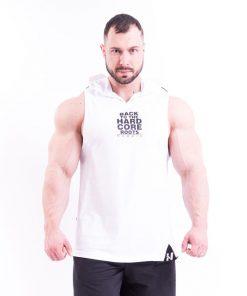 Bodybuilding Tank Top met Hoodie Wit Nebbia 313 voorkant