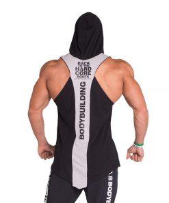 Bodybuilding Tank Top met Hoodie Zwart Nebbia 313 achterkant